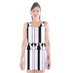 Funny Black and White Stripes Diamonds Arrows Scoop Neck Skater Dress