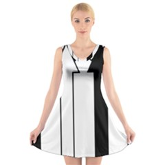 Funny Black and White Stripes Diamonds Arrows V-Neck Sleeveless Skater Dress