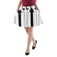 Funny Black and White Stripes Diamonds Arrows A-Line Pocket Skirt