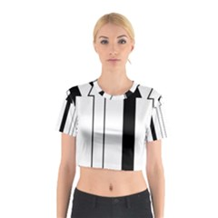 Funny Black and White Stripes Diamonds Arrows Cotton Crop Top