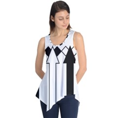 Funny Black and White Arrows Diamonds Stripes Sleeveless Tunic