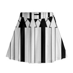 Funny Black And White Stripes Diamonds Arrows Mini Flare Skirt