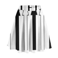 Funny Black And White Stripes Diamonds Arrows High Waist Skirt