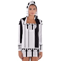 Funny Black and White Arrows Diamonds Stripes Hooded T Shirt Women s Long Sleeve Hooded T-shirt