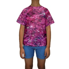 Festive Hot Pink Glitter Merry Christmas Tree  Kid s Short Sleeve Swimwear