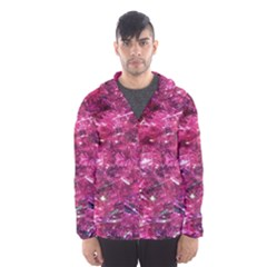 Festive Hot Pink Glitter Merry Christmas Tree  Hooded Wind Breaker (men)