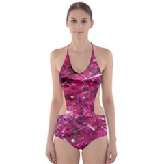 Festive Hot Pink Glitter Merry Christmas Tree  Cut-Out One Piece Swimsuit