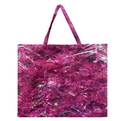 Festive Hot Pink Glitter Merry Christmas Tree  Zipper Large Tote Bag