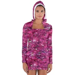 Festive Hot Pink Glitter Merry Christmas Tree  Women s Long Sleeve Hooded T-shirt