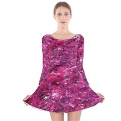 Festive Hot Pink Glitter Merry Christmas Tree  Long Sleeve Velvet Skater Dress