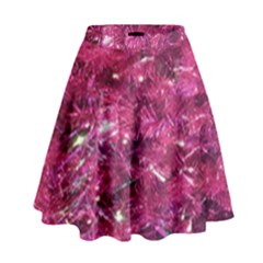 Festive Hot Pink Glitter Merry Christmas Tree  High Waist Skirt