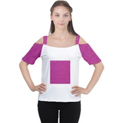 Metallic Pink Glitter Texture Women s Cutout Shoulder Tee
