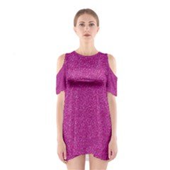 Metallic Pink Glitter Texture Cutout Shoulder Dress