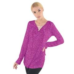 Metallic Pink Glitter Texture Women s Tie Up Tee
