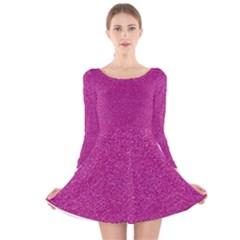 Metallic Pink Glitter Texture Long Sleeve Velvet Skater Dress