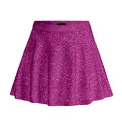 Metallic Pink Glitter Texture Mini Flare Skirt