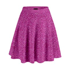 Metallic Pink Glitter Texture High Waist Skirt