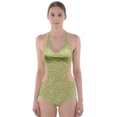 Festive White Gold Glitter Texture Cut-Out One Piece Swimsuit