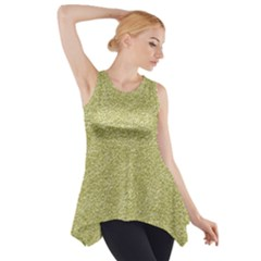 Festive White Gold Glitter Texture Side Drop Tank Tunic