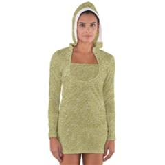 Festive White Gold Glitter Texture Women s Long Sleeve Hooded T-shirt