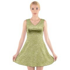 Festive White Gold Glitter Texture V Neck Sleeveless Skater Dress
