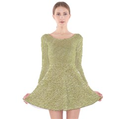 Festive White Gold Glitter Texture Long Sleeve Velvet Skater Dress