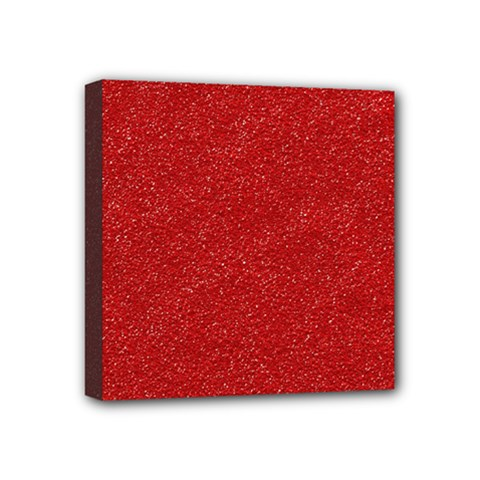 Festive Red Glitter Texture Mini Canvas 4  x 4