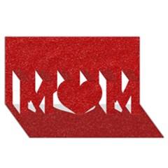Festive Red Glitter Texture MOM 3D Greeting Card (8x4)