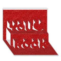 Festive Red Glitter Texture You Rock 3D Greeting Card (7x5)
