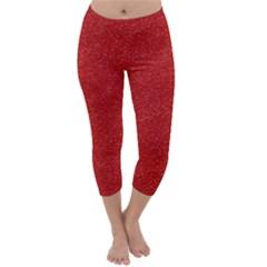 Festive Red Glitter Texture Capri Winter Leggings