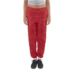 Festive Red Glitter Texture Women s Jogger Sweatpants