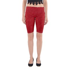 Festive Red Glitter Texture Yoga Cropped Leggings