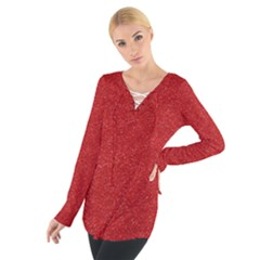 Festive Red Glitter Texture Women s Tie Up Tee