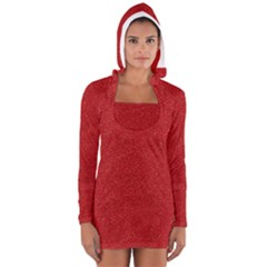 Festive Red Glitter Texture Women s Long Sleeve Hooded T-shirt