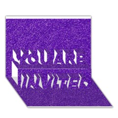 Festive Purple Glitter Texture YOU ARE INVITED 3D Greeting Card (7x5)