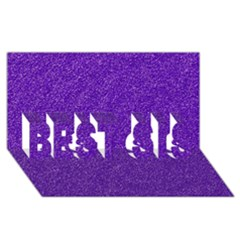 Festive Purple Glitter Texture BEST SIS 3D Greeting Card (8x4)