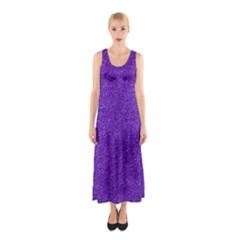 Festive Purple Glitter Texture Full Print Maxi Dress