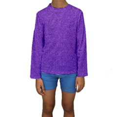 Festive Purple Glitter Texture Kid s Long Sleeve Swimwear