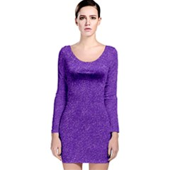 Festive Purple Glitter Texture Long Sleeve Velvet Bodycon Dress