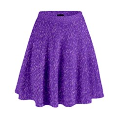 Festive Purple Glitter Texture High Waist Skirt