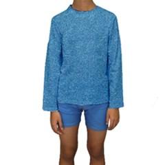 Festive Blue Glitter Texture Kid s Long Sleeve Swimwear