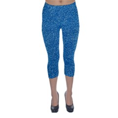 Festive Blue Glitter Texture Capri Winter Leggings