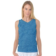 Festive Blue Glitter Texture Women s Basketball Tank Top