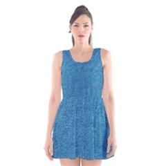 Festive Blue Glitter Texture Scoop Neck Skater Dress