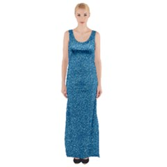 Festive Blue Glitter Texture Maxi Thigh Split Dress