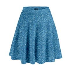 Festive Blue Glitter Texture High Waist Skirt