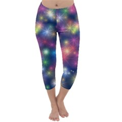 Starlight Shiny Glitter Stars Capri Winter Leggings