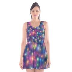 Starlight Shiny Glitter Stars Scoop Neck Skater Dress