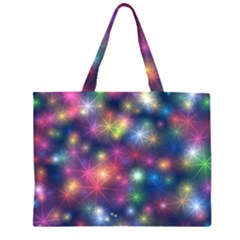 Starlight Shiny Glitter Stars Zipper Large Tote Bag