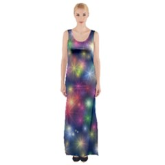 Starlight Shiny Glitter Stars Maxi Thigh Split Dress